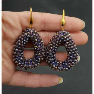 Goud vergulde oorbellen open druppel van sparkling paarse kristallen