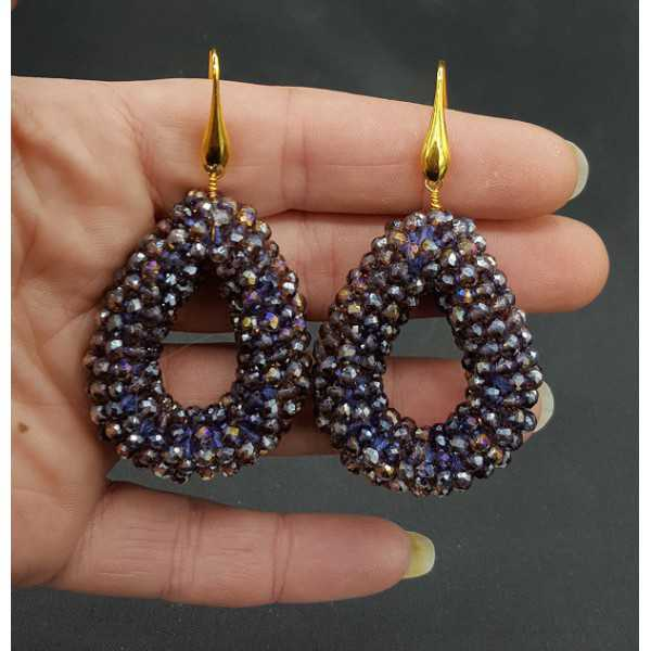 Gold plated earrings open drop of sparkling purple crystals