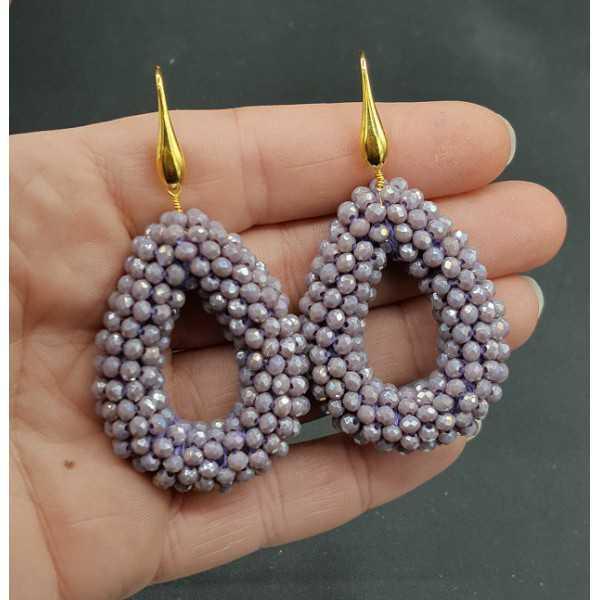 Goud vergulde oorbellen open druppel van sparkling lila paarse kristallen