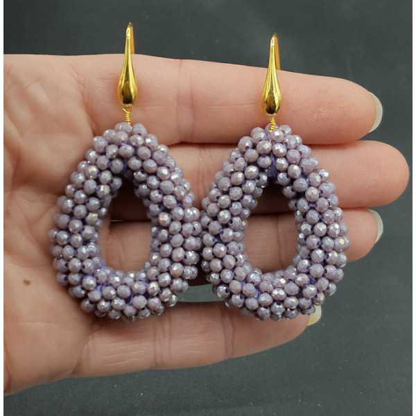 Gold plated earrings open drop of sparkling lilac purple crystals