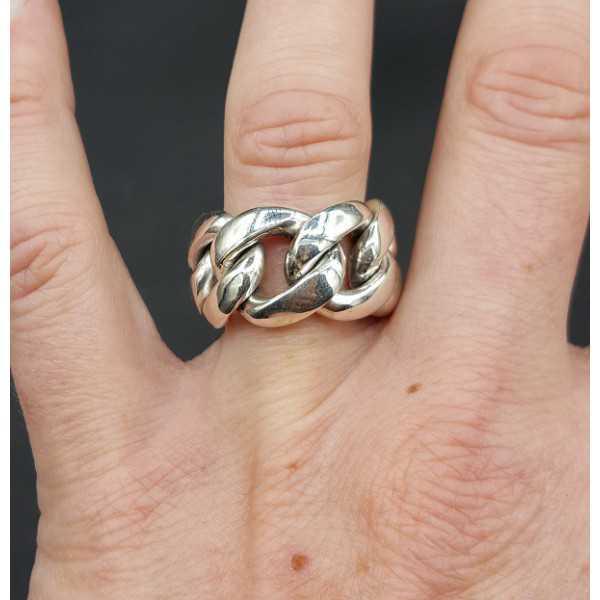 Zilveren brede schakel ring 17.5 mm