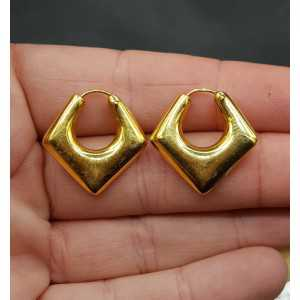 Gold plated square creoles