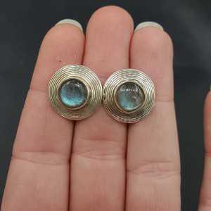 Zilveren ronde oorknoppen gezet met Labradoriet