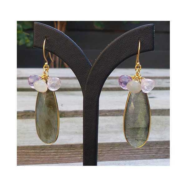 Gold plated earrings Labradorite, Amethyst, rose quartz and Maasteen