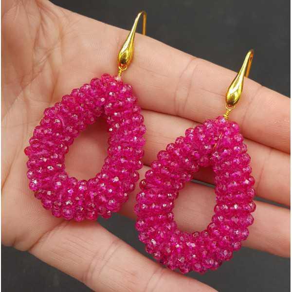 Goud vergulde oorbellen open druppel van fuchsia roze kristallen