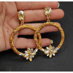 Gold-glitter und Kristall Ohrringe