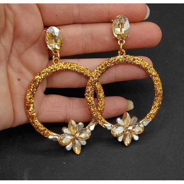 Gold glitter and crystal earrings