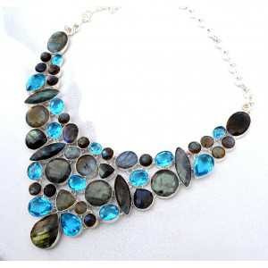 Silver necklace set with facet cut Labradorite and Topazes
