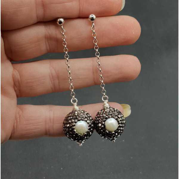 Und Perle Kugel Ohrringe Silber Schwarze Kristalle Mit kiPXuZ