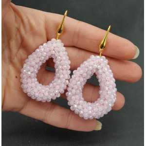 Vergoldete Ohrringe offenen Tropfen Licht rosa Kristalle sprankling