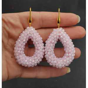 Goud vergulde oorbellen open druppel van licht roze sprankling kristallen