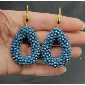 Vergoldete Ohrringe offenen Tropfen Benzin blau sprankling Kristalle
