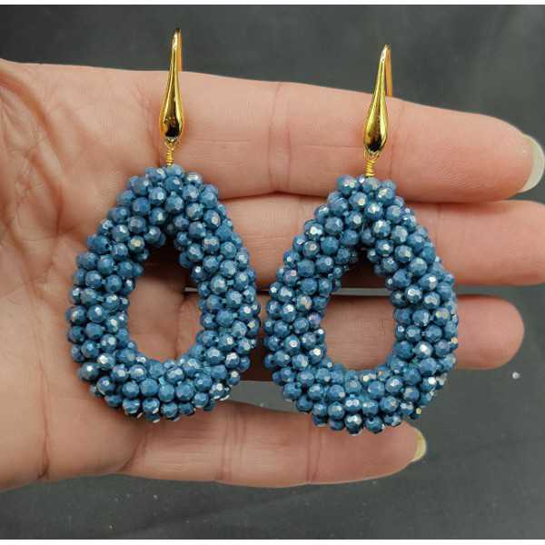 Gold plated earrings open drop of Petrol blue sprankling crystals