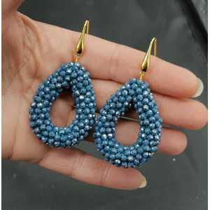 Goud vergulde oorbellen open druppel van Petrol blauwe sprankling kristallen
