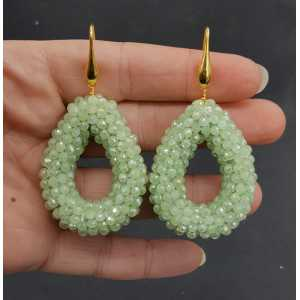 Gold plated earrings open drop with light green crystals
