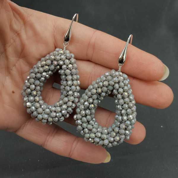 Ohrringe Silber open drop der grauen Kristallen