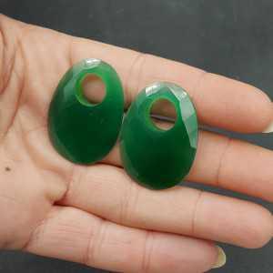 Creole Anhänger set mit ovalen grünen Onyx