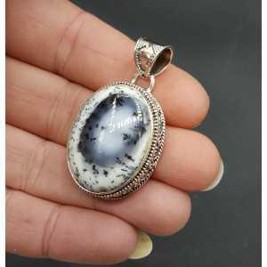 Zilveren hanger met brede ovale Dendriet Opaal bewerkte setting
