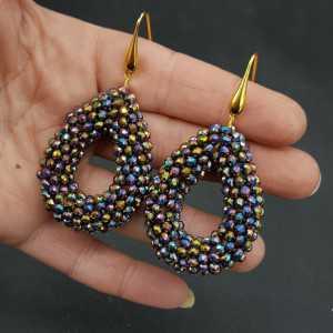 Vergoldete Ohrringe drop öffnen mit multi Farbe metallic-Kristalle