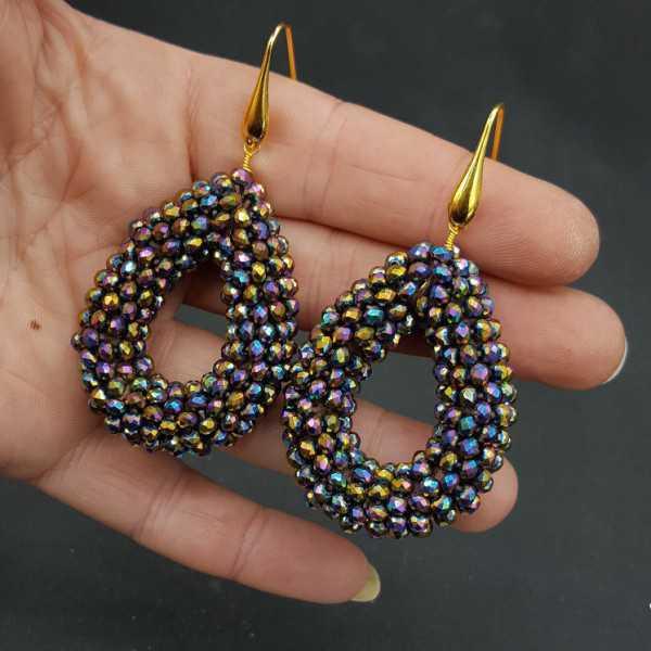 Goud vergulde oorbellen open druppel met multi kleuren metallic kristallen