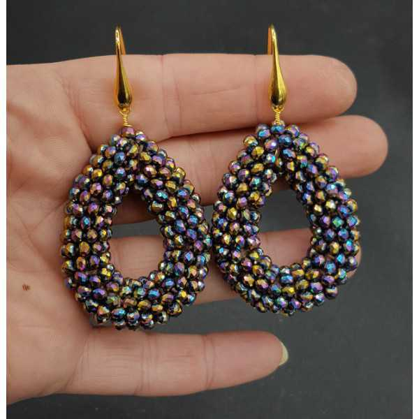 Gold plated earrings open drop with multi colour metallic crystals