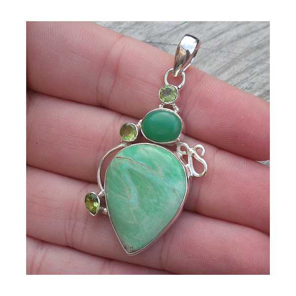 Silver pendant with Varisciet, Chrysoprase and Peridot