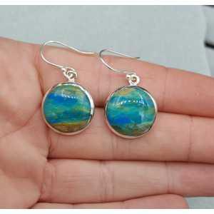 Zilveren oorbellen gezet met ronde Peruaanse Opaal