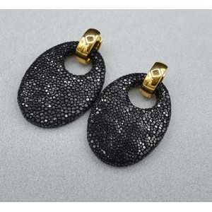 Creoles with oval black Roggenleer pendant