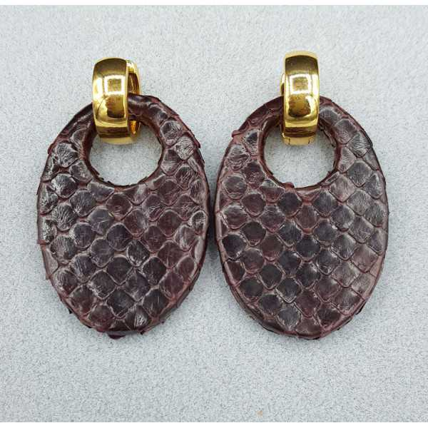 Creolen met ovale donker bruine Slangenleer hanger