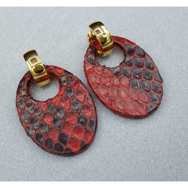 Creoles with oval dark brown Snakeskin pendant