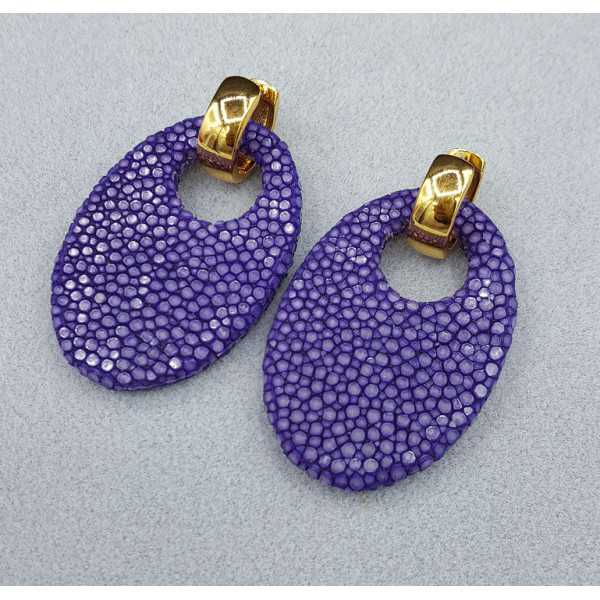 Creoles with oval purple Roggenleer pendant