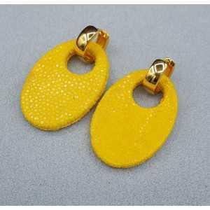 Creoles oval yellow Roggenleer pendant