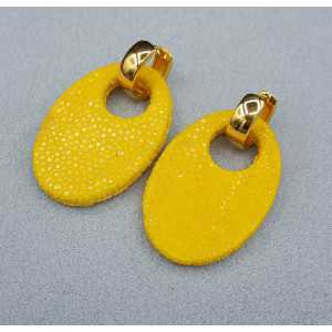 Kreolen oval gelb Roggenleer Anhänger