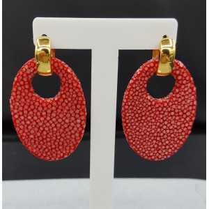 Creoles oval red Roggenleer pendant