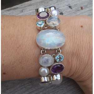 Silber Armband mit Amethyst, Mondstein und Blautopas