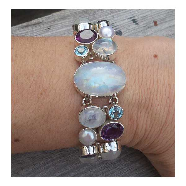 Silver bracelet with Amethyst, Moonstone and blue Topaz