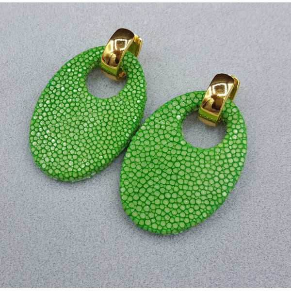 Creoles with oval green Roggenleer pendant