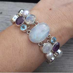 Zilveren armband met Amethist, Maansteen en blauw Topaas