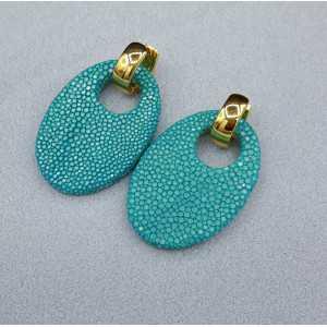 Kreolen mit ovalen Türkis-blau Roggenleer Anhänger