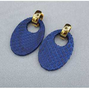 Creoles with oval blue Snakeskin pendant
