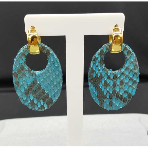 Creoles with oval light blue Snakeskin pendant