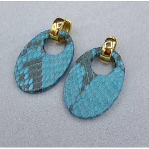 Kreolen mit oval light blue Snakeskin-Anhänger