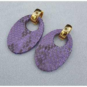 Creolen met ovale paarse Slangenleer hanger