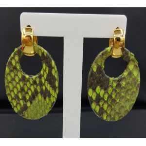 Creolen met ovale licht groene Slangenleer hanger