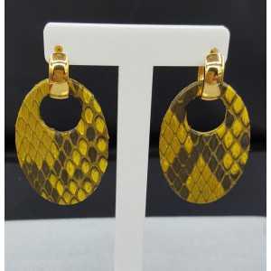 Kreolen oval gelb Snakeskin-Anhänger