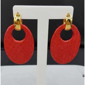 Creolen met rode Slangenleer hanger