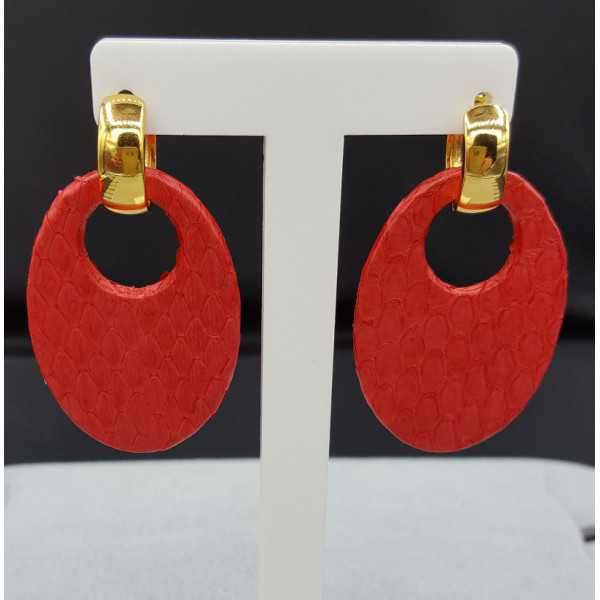 Creoles with red Snakeskin pendant