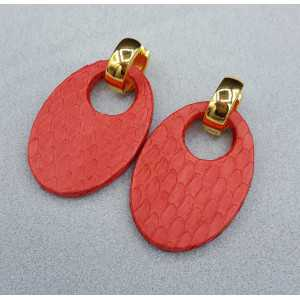 Creolen met ovale rode Slangenleer hanger