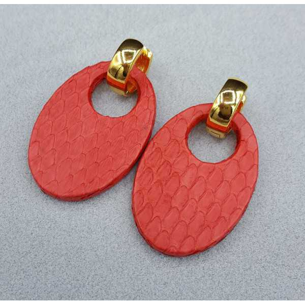 Creoles oval red Snakeskin pendant