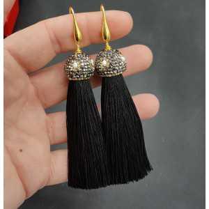 Gold plated schwarz Quaste Ohrringe mit Kristallen und Perle